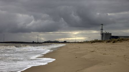 The South end of Great Yarmouth beach, the Power Station dominates the view looking towards Gorlesto