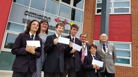 Cameron Simmons, Jake Needam, Toby Coleman and Cody Lawes with Claire Ditcham and Rotarians Keith Fu