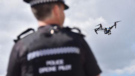 A police drone was deployed as part of the search. Picture : ANTONY KELLY
