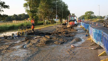A significant repair operation was well under way by Thursday morning Picture: Caister P