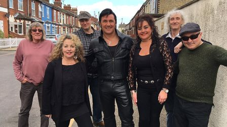 From left to right: Pete Cattee - guitar, Sue Campbell-Bannerman - backing vocals, 'Drummer Andy', A