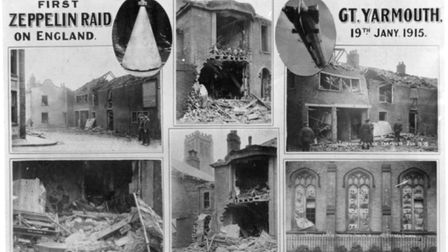 Postcard showing the historic Zeppelin air raid damage in Great YarmouthPicture: TMS Media