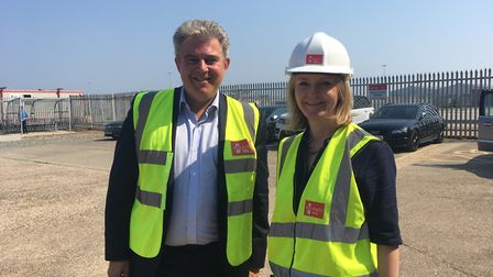 Brandon Lewis MP and Liz Truss MP at Peel Ports, Great Yarmouth. Picture: Conor Matchett