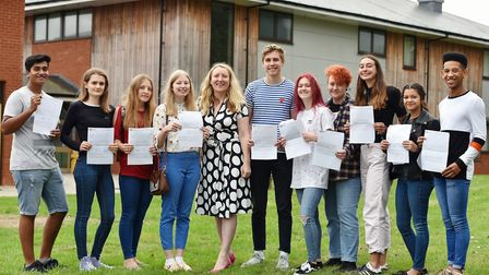 Students receiving their A Level results at East Norfolk Sixth Form College in Gorleston. Principal