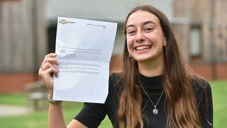 Students receiving their A Level results at East Norfolk Sixth Form College in Gorleston. Iona Brett