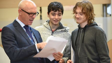 Students at Great Yarmouth Charter Academy collecting their GCSE results 2018. Principle Barry Smith
