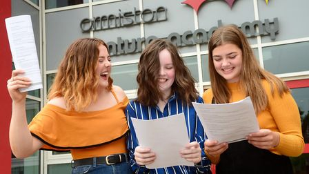Jess Smith, Millie Fisher and Tyler Munroe with their GCSE results at Ormiston Venture Academy. Pict