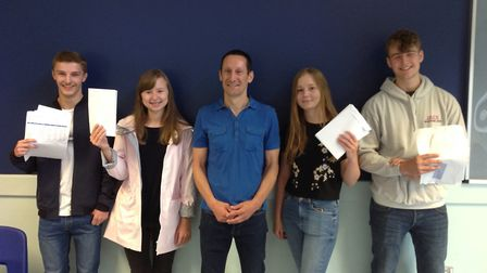 Pupils of Flegg High Ormiston academy celebrate their GCSE results: From left to right: Adam Parker,
