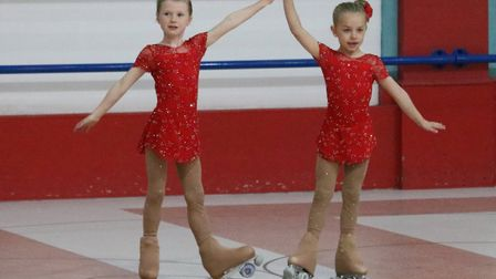 Betsy Suttie and Amelia Balls wow the crowds in Great Yarmouth Picture: Retroskate ARSC