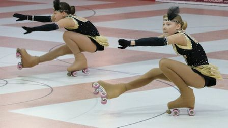 Megan Tubby and Harmony Widdowson in action at Great Yarmouth Picture: Retroskate ARSC