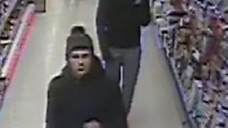 Police want to speak to two men captured on CCTV in Tesco Photo: Norfolk Police