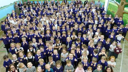 Pupils at Moorlands Academy, after the primary school was rated Good by Ofsted