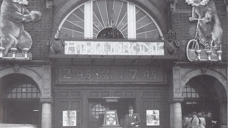 Back in business! Ringmaster Frank Ginnett outside the Hippodrome at its reopening after the 1939-45
