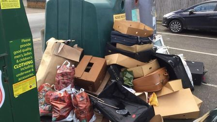 Suitcases, window frames and boxes of cardboard were dumped in Morrisons car park in Great Yarmouth