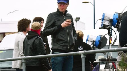 Stephen Merchant and his production crew film scenes for new Film 'Fighting with My Family' staring