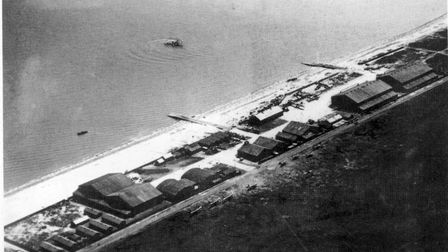 An aerial view of Great Yarmouth's South Denes air station in 1918. The two slipways for flying boat