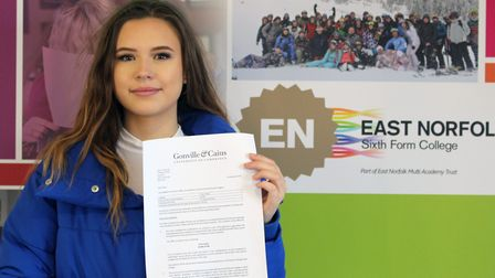 Daisy Spurway, 17, a student at East Norfolk Sixth Form College, has been offered a place at Cambrid