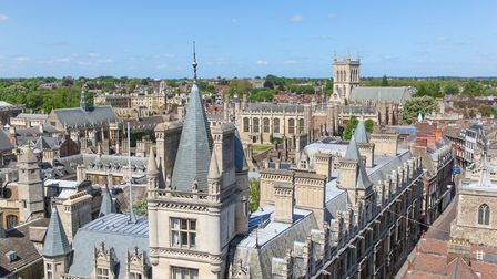 A high angled view of the historic architecture in Cambridge.