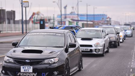 A convoy of Subaru cars at the funeral of Cameron Geeson who died on New Year's Day aged 19. PICTURE