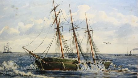 "One of the ships driven ashore at Gorleston in the 1881 storm, captured by artist ""W.K.H."" She was c"