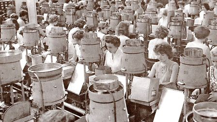 Hard at work: Erie Resistor employees in the South Denes factory 60 years ago, in 1959.