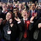 Scottish Labour supporters celebrate at the Emirates Arena in Glasgow, as counting is under way for