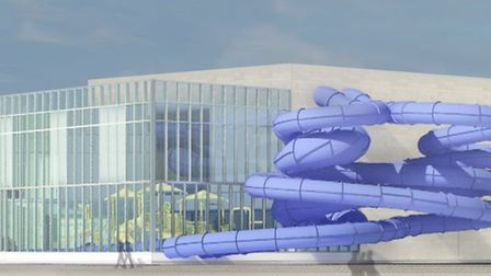 An artist's impression of what the new centre on the Golden Mile could look like from the beach Pict
