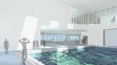 An artist's impression of the new pool at the £26m leisure centre being touted for the Golden Mile i