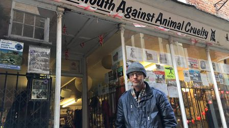 Giles Robins, owner of Great Yarmouth Against Animal Cruelty in Market Row, which is set to close at