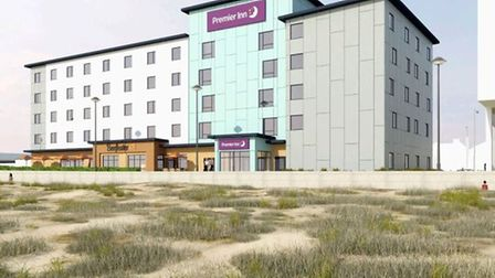 An image of what the new Premier Inn taking shape at The Edge will look like in Great Yarmouth. Pict