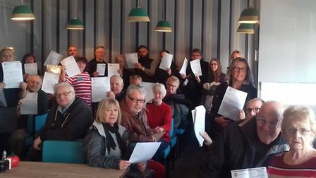 Protesters at a meeting held to discuss a council plan for kiosks and outdoor seating at Gorleston n
