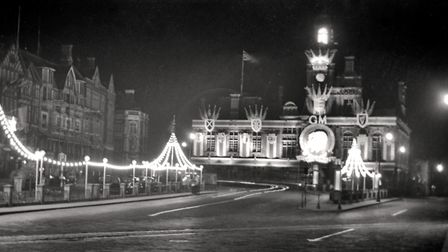 Queen Mary in 1935, the Town Hall and Hall Quay were tastefully illuminated. Picture: Terry Farman C
