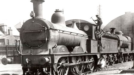 Coaled up and ready to steam? Two locomotives at Yarmouth Beach Station perhaps a century ago.