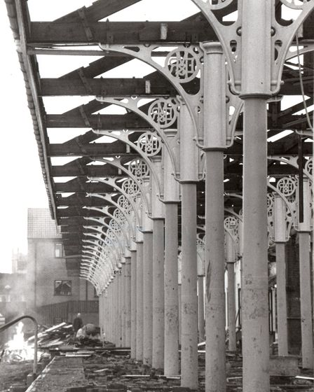 A column of columns...the stanchions which supported one of the platform canopies at Yarmouth Beach