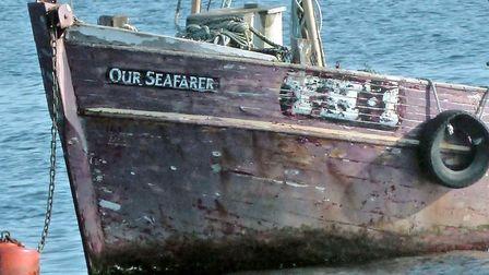 Looking the worse for wear: the bow of the Our Seafarer, currently moored in Scotland.