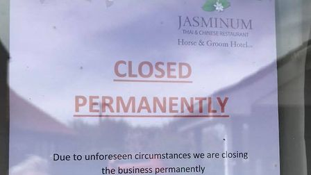 This notice has appeared outside the Jasminum Thai restaurant in Rollesby stating the premises is cl