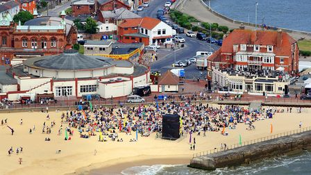 An aerial view of Gorleston beach, earlier in the day as crowds start arriving Photo: Mike Page