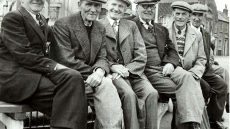 Decades after his conviction for speeding, Bertie Miller (far right) with pals.