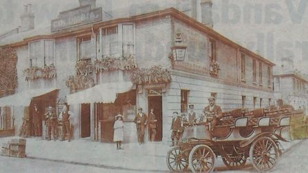 The Daimler car in which Bertie Miller drove too fast in Yarmouth, pictured outside the Columbia tav