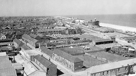 The South Denes area of Great Yarmouth in 1955 viewed from Nelson's Monument, once open space used f