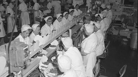 Green beans being packed at Birds Eye's premises in 1959.