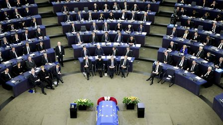 The coffin for late former chancellor Helmut Kohl at the European Parliament in Strasbourg.