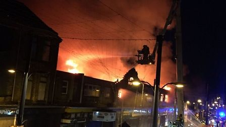 The fire on Regent Road, Great Yarmouth, in August 2016. Picture: Moss Pishbin