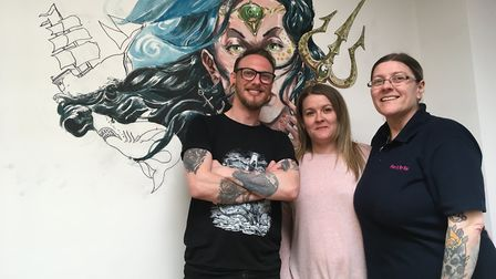 Gareth Burgess, 38, Bekki Moore, 28, and Kelly Moore, 48, the owners of Kracken Bodyart, a new tatto