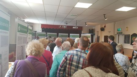 Caister Community Centre was busy from 2.30pm when a public exhibition detailing plans for a 725-hom