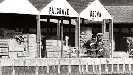 Timber stacked at Palgrave Brown's premises in Southtown. A Yarmouth doctor once recommended inhalin