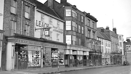 Leach's hardware shop on Great Yarmouth Market Place in 1962. In the early years of motoring it sold