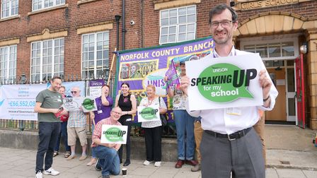 Unison members and borough councillors took their protest about cuts in education to St Nicholas Pri