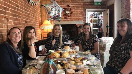 Birthday girl Sam Bensley (centre) and her friends enjoying afternoono tea at Poppy's Tearoom in Win