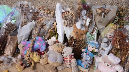One month on, the flowers and toys left in memory of Ava May Littleboy at Gorleston beach. Picture: